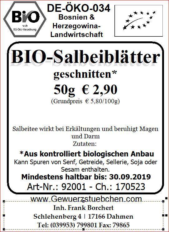 hier finden kaufen bio salbeibl tter aus europa 50g geschn. Black Bedroom Furniture Sets. Home Design Ideas