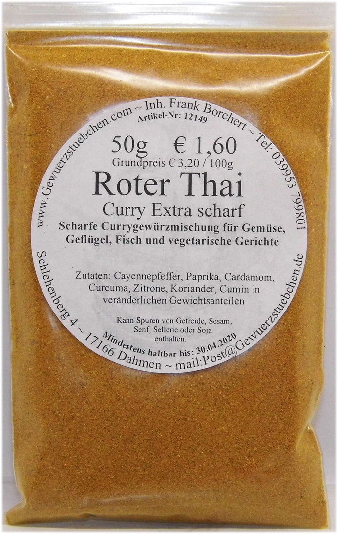 Curry Roter Thai extra scharf (50g)