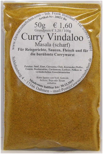 Curry Vindaloo Masala scharf (50g)