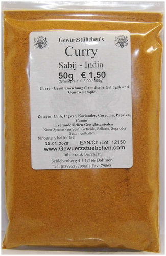 Curry Sabij India  (50g)