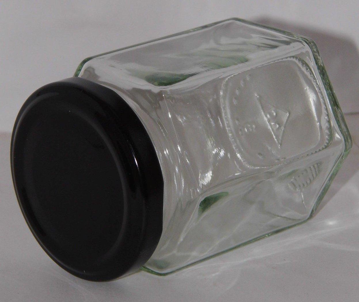 Gewürzglas 196ml 6-eckig m. schwarzen Deckel