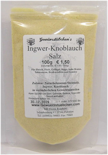 Ingwer Knoblauch Salz (100g)