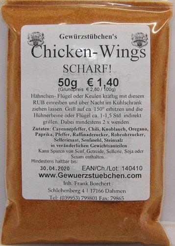 Chicken-Wings Grillgewürz (50g) SCHARF