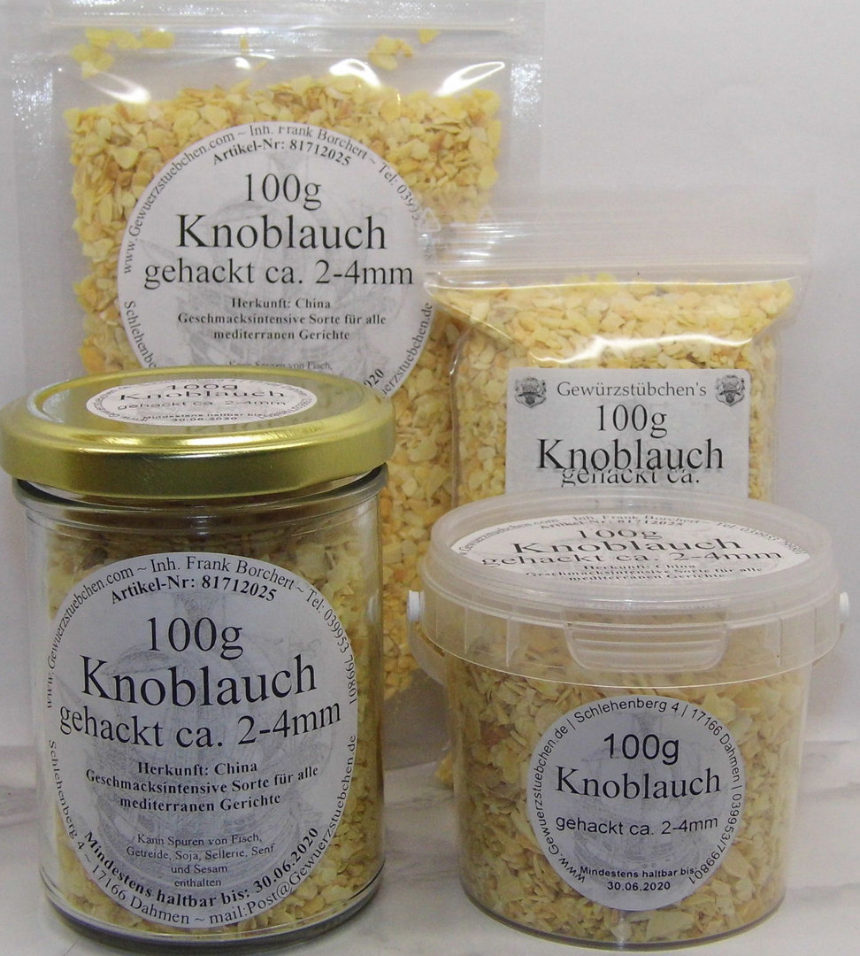 Knoblauch gehackt (100g) variable Verpackung